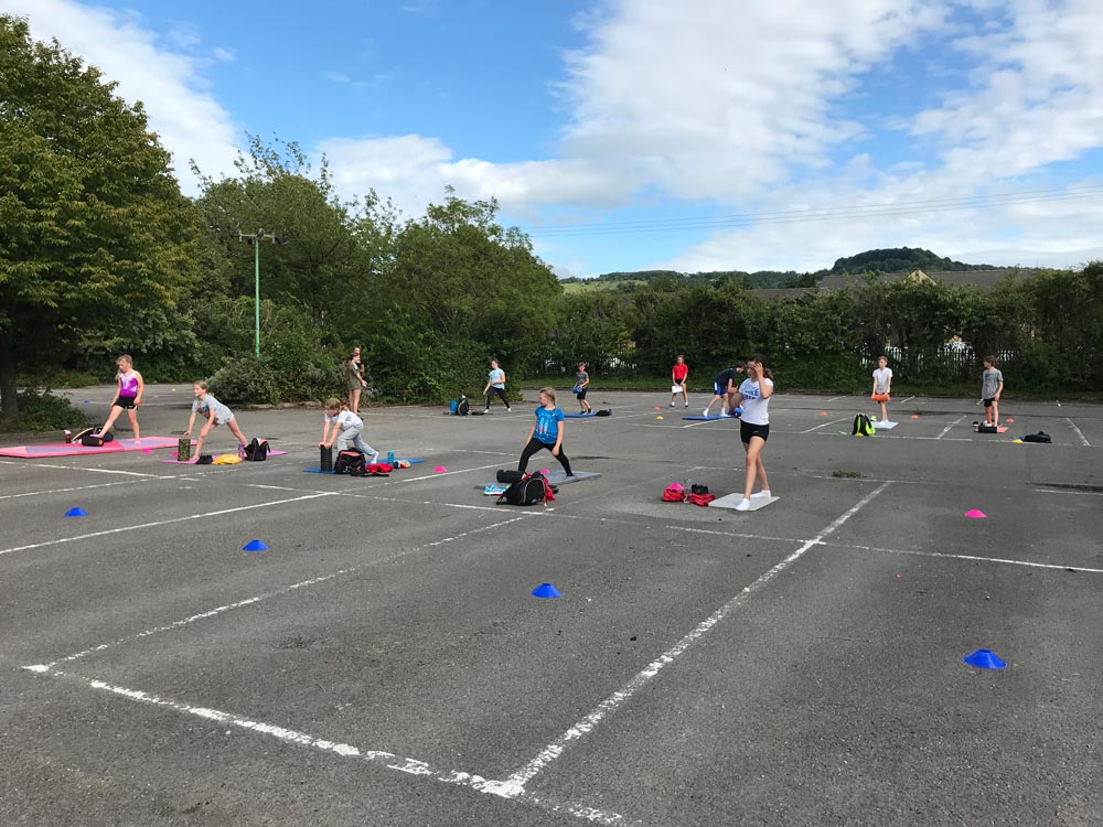 Aspire Springers enjoy the weather with outdoor conditioning at Bentham
